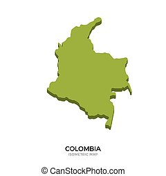 Isometric map of Colombia detailed vector illustration....