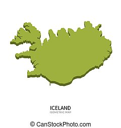 Isometric map of Iceland detailed vector illustration....
