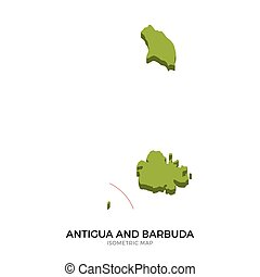 Isometric map of Antigua and Barbuda detailed vector...