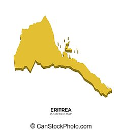 Isometric map of Eritrea detailed vector illustration....