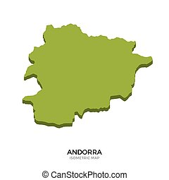 Isometric map of Andorra detailed vector illustration....