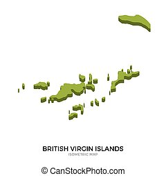Isometric map of British Virgin Islands detailed vector...