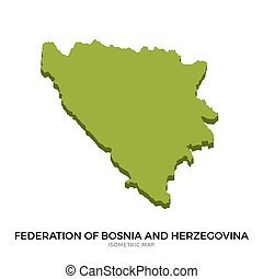 Isometric map of Federation of Bosnia and Herzegovina...