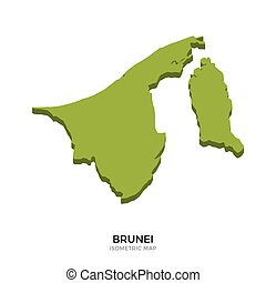 Isometric map of Brunei detailed vector illustration....
