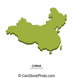 Isometric map of China detailed vector illustration....