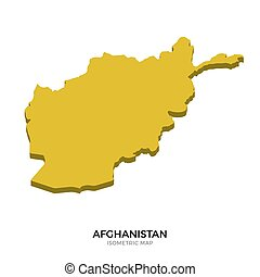 Isometric map of Afghanistan detailed vector illustration....