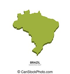 Isometric map of Brazil detailed vector illustration....