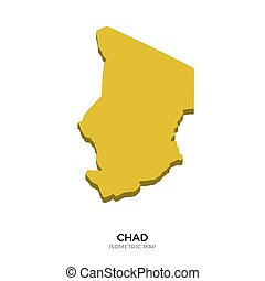 Isometric map of Chad detailed vector illustration. Isolated...