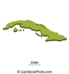 Isometric map of Cuba detailed vector illustration. Isolated...