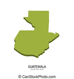 Isometric map of Guatemala detailed vector illustration...