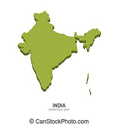 Isometric map of India detailed vector illustration....