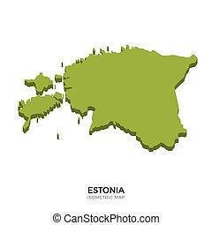 Isometric map of Estonia detailed vector illustration....