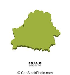 Isometric map of Belarus detailed vector illustration....