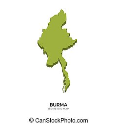 Isometric map of Burma detailed vector illustration....