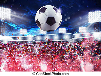 Crowd fans in the stadium - Soccer ball with backgrounds...