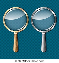 Pair of magnifying glasses on blue background.