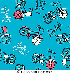 Blue pattern with bicycles.