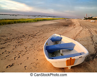 Row Boat and Sand - White Tow Boat on Beach with sand