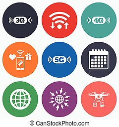 Mobile telecommunications icons 3G, 4G and 5G - Wifi, mobile...