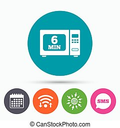 Cook in microwave oven sign icon Electric stove - Wifi, Sms...