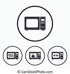 Microwave oven icons Cook in electric stove - Microwave oven...