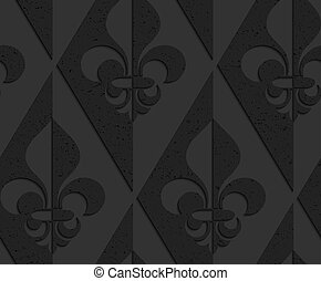 Black textured plastic Fleur-de-lis half and half.Seamless...