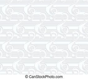 Quilling paper G clef and linesWhite geometric background...