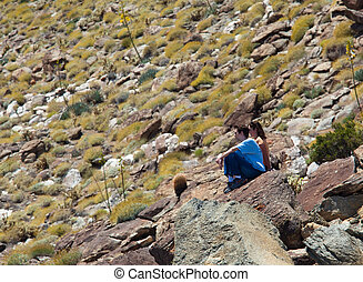 Hikers in desert look at distant object - Male and female...