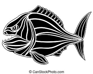 Piranha, tattoo - Black tribal fish tattoo - piranha