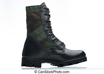 camouflaged leather boot - catalog side view camouflaged...