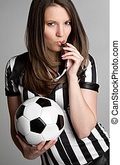 Soccer Referee Girl - Sexy soccer referee girl blowing...