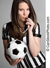 futebol, árbitro, menina