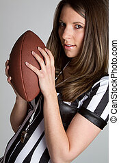 Football Referee Girl - Sexy football referee girl holding...