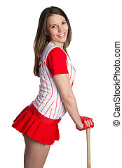 Isolated Baseball Girl - Beautiful isolated baseball girl...