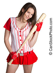 Sexy Baseball Girl - Sexy isolated baseball girl