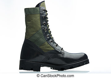 militar men boot - militar green black leather men boot side...