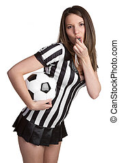Sexy Football Referee - Sexy football referee girl blowing...