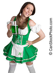 Irish Girl Holding Beer - Beautiful irish girl holding green...