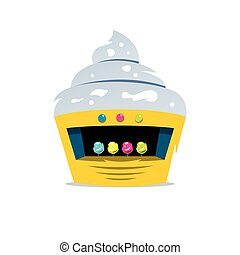 Vector Ice Cream Shop Cartoon Illustration - Yellow candy...