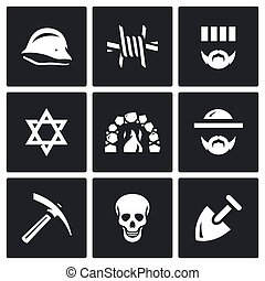 Vector Set of Concentration Camp Icons. German helmet,...