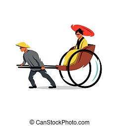 Vector China Rickshaw Cartoon Illustration. - Hand pulled...