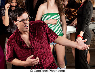 Nerdy man dancing at a 1970s Disco Music Party