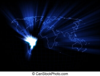 World Map - Brazil - World map with the Brazil glowing with...