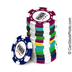 Poker Chip - Stack of different coloured poker chips on a...