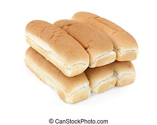 Hotdog Buns - Plain hotdog buns isolated against a white...