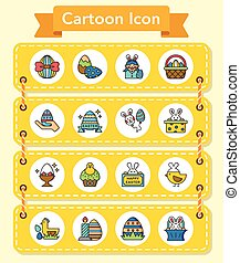 icon set easter vector