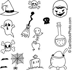 Vector stock halloween doodle on white backgrounds