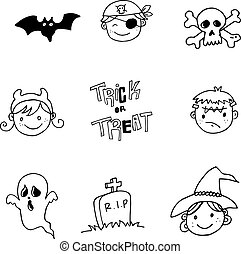 Face character halloween doodle
