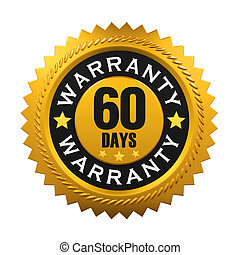 60 Days Warranty Sign isolated on white background. 3D...