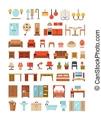 Home and office furniture interiors flat icons set